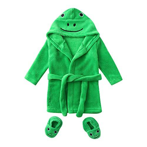 Topgrowth Accappatoio Neonato Cartone Animato Asciugamano Incappucciato Accappatoi di Flanella Bimbi Felpa con Cappuccio + Calzature Outfits (Verde, 6-12 Mesi)