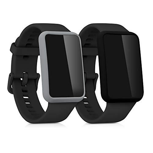 kwmobile 2X Protezione Schermo Compatibile con Huawei Watch Fit - Custodia in Silicone con Rivestimento Protettivo - Senza Fitness Tracker
