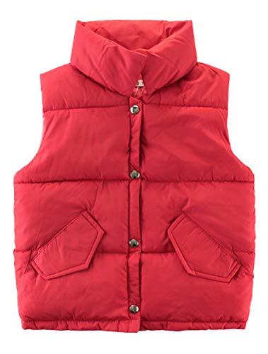 Mallimoda Boys Girls Lightweight Down Vest Puffer Jacket High Neck Waistcoat Style 1 Red 5-6 Years