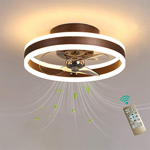 YAOXI Dormitorio Led Ventilador de Techo Pequeño con Luz y Mando Silencioso Reversible 6 Velocidades Moderno Ventilador con Luz de Techo con Temporizador Regulable,Marrón