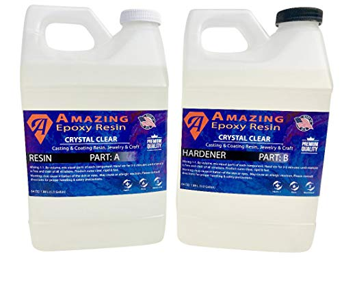 AMAZING Epoxy Resin 1-Gallon Resin Kit of Resin and Hardener Combined Clear Epoxy for Jewelry Making and Coating Perfect for DIY Arts and Crafts Super Gloss Finish