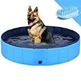 GoStock Dog Pool for Large Dogs, Collapsible Dog Pet BathPool, Folding Kiddie Pools for Dogs Cats and Kids 48 x 12 inch