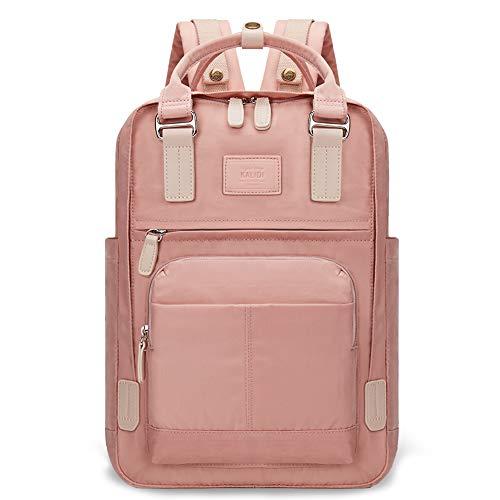 KALIDI Unisex Daypack/Rucksack mit 15 Zoll Laptopfach, Damen Rucksack Herren Tagesrucksack, Wasserabweisende Schultasche für Unterwegs, Rosa