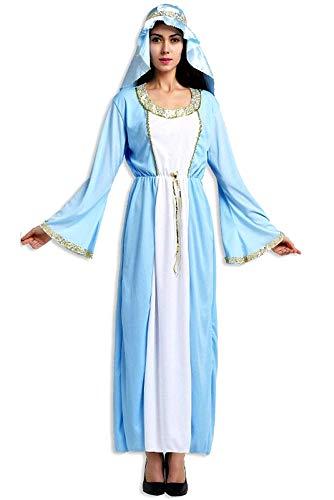 KIRALOVE Disfraz de Virgen maría - Dama para Mujer niña - Adultos - Disfraces de Mujer - Halloween - Carnaval - Cosplay - Color Turquesa - Talla única - Idea de Regalo Original Cosplay