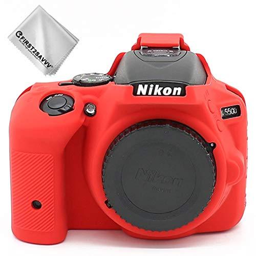 First2savvv Rojo Cuerpo Completo Caucho de TPU Funda Estuche Silicona para cámara para Nikon D5500 D5600 XJPT-D5600-GJ-T08G11
