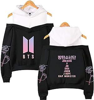 BTS off shoulder Hoodie sweatshirt album pattern printing women's fashion Hip Hop casual long-sleeved Hoodie
