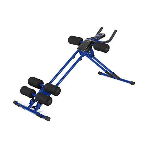 Klarfit Ab Cruncher Aparato de Abdominales Plegable (Con Ordenador de Entrenamiento, 4 Niveles Dificultad, Superficies Acolchadas, Sistema de Rodillos) - Azul