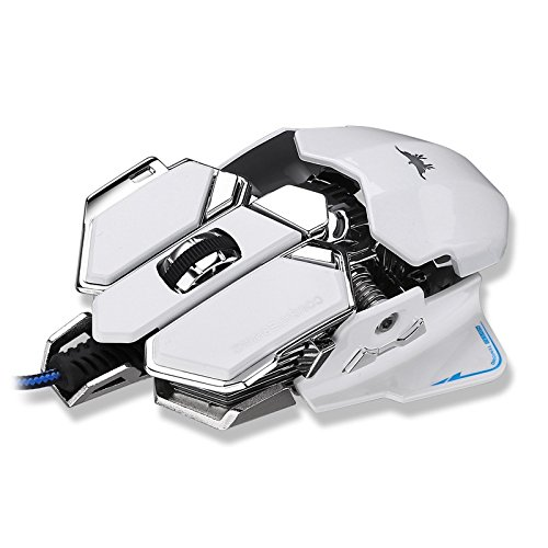 Combaterwing 4800 DPI Optical USB Wired Professional Gaming Mouse Programmable 10 Buttons RGB Breathing LED Computer Game Mice (White)