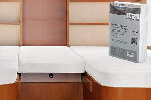 Brandsseller - 3-teiligs Spannbettlaken Set für Wohnwagen und Wohnmobil Heckbett Spannbetttuch 180 g/m² 2X 70x190 cm - 85x210 cm + 1x 35x130-50x145 cm Weiss