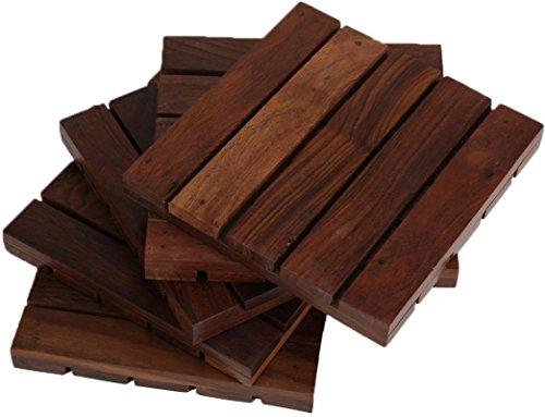 hashcart Untersetzer für drinks-hot & kalt/Untersetzer aus Holz Sets/Esszimmer, Tee & Kaffee Tisch Deko Cocktail Untersetzer in Sheesham Holz | Set von 5, Palisander, braun, 12,7 x 12,7 cm