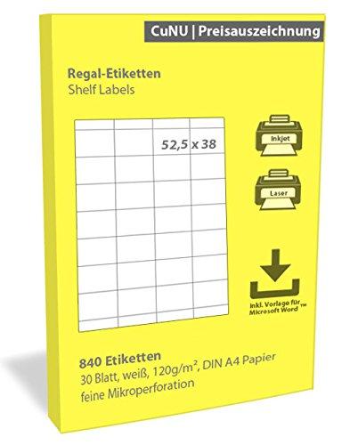 Regalschilder, Regal-Etiketten, Scanner-Etiketten, weiß, 52,5x38 mm 840 Stück