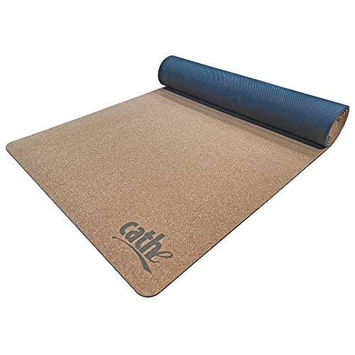 Cathe Lay-Flat - Esterilla de yoga y ejercicio (corcho natural, extra gruesa)