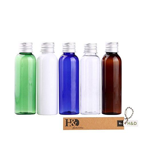 H&D Lot de 5 petites bouteilles en plastique multicolores rechargeables avec pompe pour le transport de produits cosmétiques
