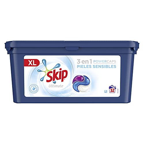 Skip Ultimate Detergente Capsulas 3en1 Pieles Sensibles 32lav -Pack de 3