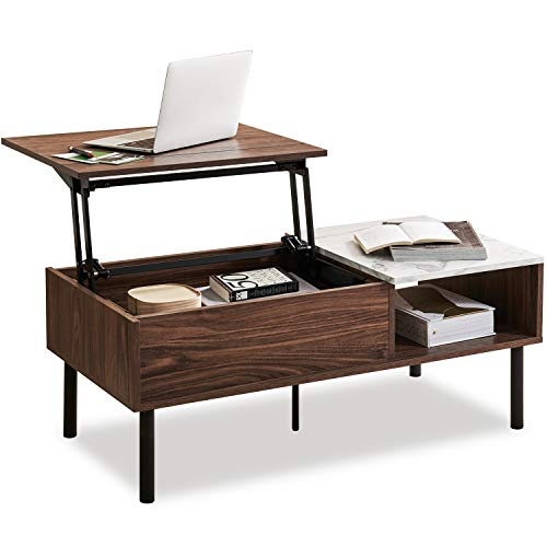 HarmatiLiftTopCoffeeTablewithStorage-LiftupCenterTablefor LivingRoomHome,MidCenturyModernPopupRisingAdjustable Furniture Table,Walnut&Marble Effect
