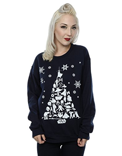 Star Wars Damen Christmas Tree Sweatshirt Large Deep Navy