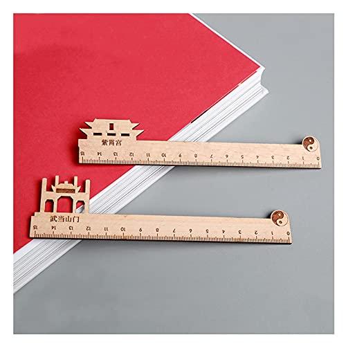 2 piezas de la regla de madera herramientas de medición de la regla de la escala de medición del estudiante de la medida de la regla de la regla de la regalo de la regalo suministros para estudiantes