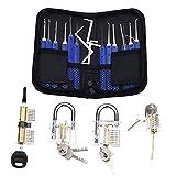 ZHAOW Juego de Ganzúas 12 Piezas, Lock Picking Set con 4 Candados de Entrenamiento Transparentes Kit para Abrir Cerraduras Ideal para Principiantes y Cerrajeros Profesionales Lock Picks Set