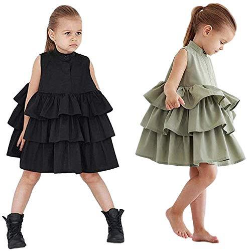 Geagodelia Kleinkind Baby Mädchen Tutu Kleid Ärmellos Rüschen Prinzessin Kleid Party Festlich Hochzeit Sommer Outfits Kleidung (Schwarz, 4-5 Jahre)