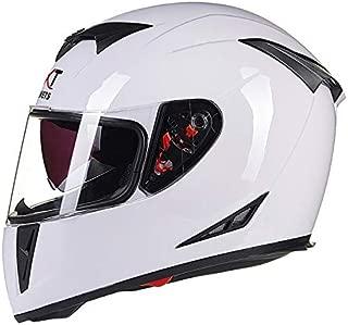 XuBa Men Flip-up Dual Lenses Full-Face Motorcycle Helmet Antifogging Motorbike Riding Helmet Bright White XXL