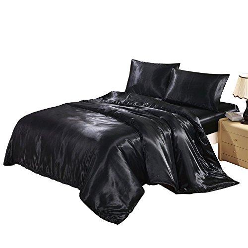 HYSENM Set Bettwäsche Kissenhülle x 2 Satin Einfarbig Glatt Bequem Verschiedene Größen, Schwarz Bettwäsche(135 x 200cm)+1 x Kissenhülle(50 x 75cm)