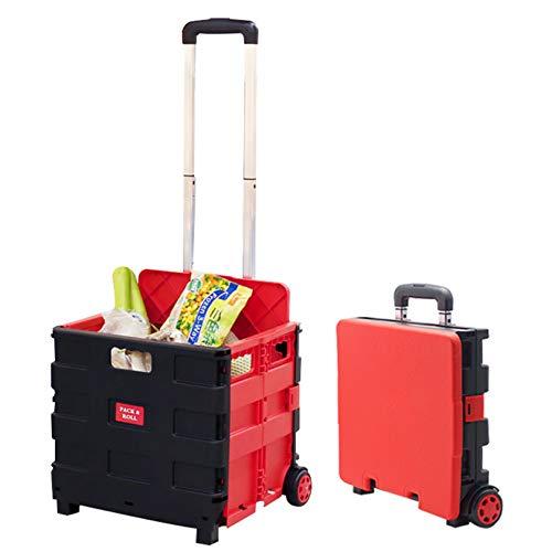Carrello della Spesa, Carrello Trolley Pieghevole Scatola della Spesa per Supermercati Carrello con Ruote con Coperchio Tronco per Stivale in Plastica 2 Ruote, 45L(Rosso)