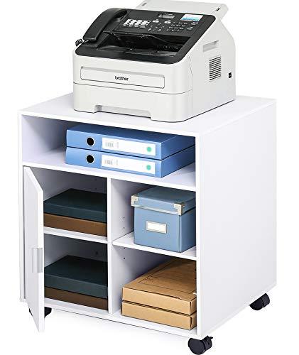 EONO Druckerständer mit Rädern 5 Fächer 1 Tür Holz Weiß Wagen Organizer für Büro Zuhause 60x50x66.4cm EPS406001WW
