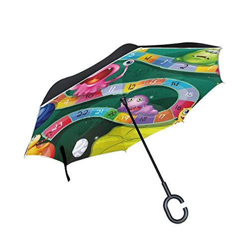 ALINLO Umgekehrter Regenschirm mit Cartoon-Motiv, Kinderspielzeug, doppellagig, umgekehrter Regenschirm, wasserdicht für Auto und Regen im Freien, mit C-förmigem Griff