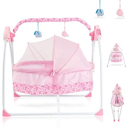 DFDFS SANPLO CBBAY Electric Cradle Baby Swing Infant Bed Cot Crib Rocking Basket Newborn Bassinet Automatic Intelligent Sleeping (Pink)