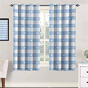 Checkered Thermal Insulated Curtains Gingham Motif with Cute Little Hearts Pastel Blue Baby Shower Kids Theme Blackout Drape for Dining Room 84″ x 72″ Pale Blue White