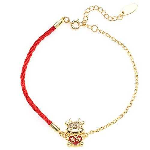 Lucky Charm Bracelet 2021 Año del OX Real Gold-Chapado Lindo Cow Cow Zircon Red Rojo Pulsera Ajustable Atraer Ward Ward Off Evil Spirits,Oro