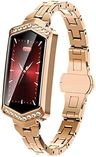 L.B.S Smartwatch, 2021 Nuevo Reloj Inteligente Femenino, monitorización de frecuencia cardíaca Impermeable Bluetooth para Android iOS Fitness Pulsera(D)