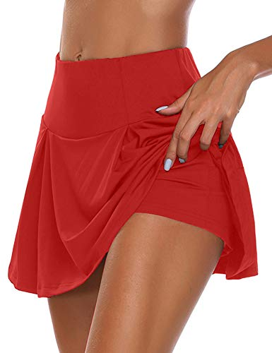 HDLUSIA Women's Active Skort Athletic Stretchy Pleated Tennis Skirt for Running Golf Workout Wine Red