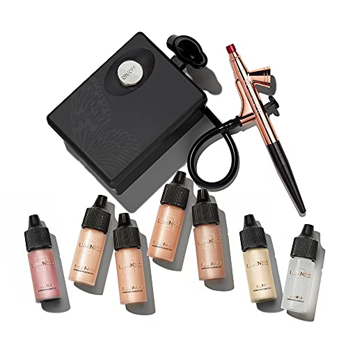 Luminess Air Basic Airbrush System with 7-Piece Silk 4-IN-1 Airbrush Foundation & Cosmetic Starter Kit, Warm