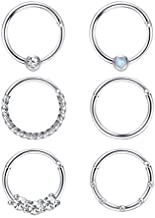 FIBO STEEL Cartilage Hoop Earrings for Men Women Stainless Steel CBR Hinged Clicker Nose Ring Helix Septum Couch Daith Lip Tragus Piercing Sleeper Earrings Jewelry Set 18G 8MM