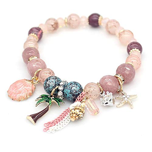 FASHLOVE Natural Stone Shell Bracelet, National Style Chain with Beaded String, Women's Chain Length Approximately 19 cm, Pink