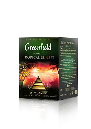 Greenfield Tropical Sunset Pyramid Collection 20 Pyramids In Special Foil Sachets Herbal Tea Finely Selected Speciality Tea