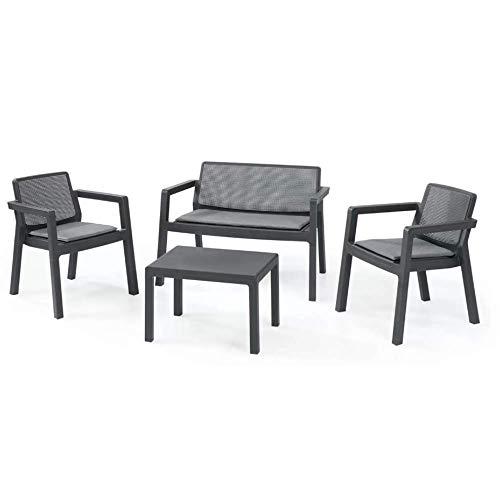 PiuShopping - Salón de jardín para exterior, de resina antigolpes, 1 sofá, 2 sillones y 1 mesa, diseño moderno, 4 plazas