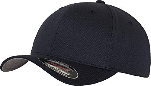 Flexfit Unisex Baseball Cap Wooly Combed, Kappe ohne Verschluss für Herren, Damen und Kinder, Farbe dark navy, Größe L/XL