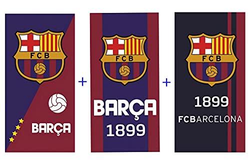 FC Barcelona - Toalla de playa (70 x 140 cm, 100% algodón, 3 unidades)