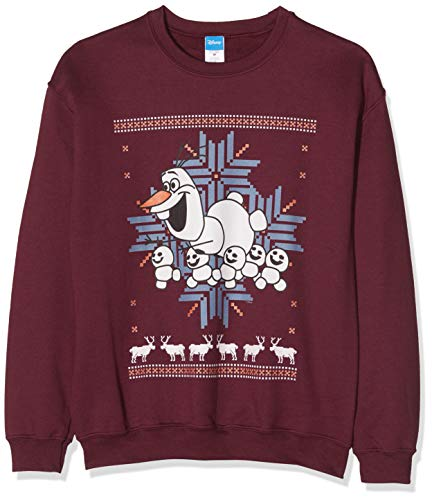 Disney Frozen Herren Men's Christmas Olaf and Snowmen Sweatshirt, Rot (Maroon 013), Medium