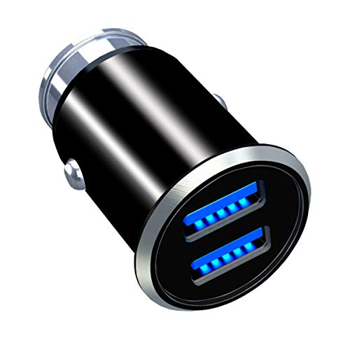 Micro Dual USB Car Charger,4.8A Cigarette Lighter Adapter for iPhone 7 8 X 6 6S IPad Air Mini Samsung Galaxy S9 S7 and More Android Phone–(Black)