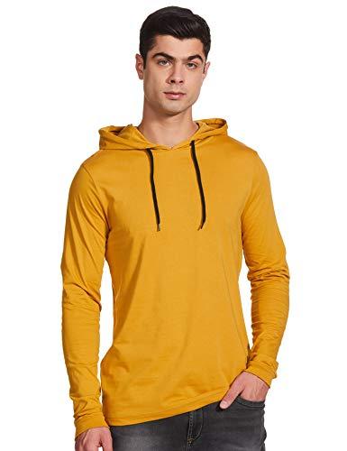 Amazon Brand - Symbol Men's Solid Regular fit T-Shirt (AW17PLK86_Amber Gold M)