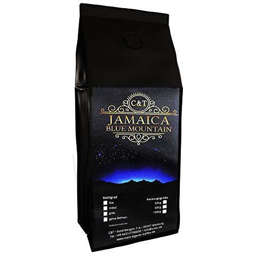 C&T 100% Jamaica Blue Mountain AA Wallenford Estate 500 g Ganze Bohnen Sorteinrein Singe Origin Rarität aus Jamaika