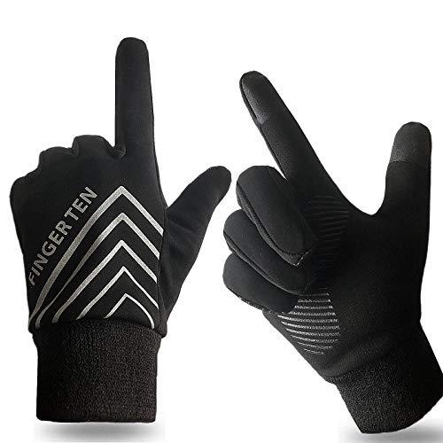 Running Gloves Men Women Run Liner Fleece Warm Winter 3M Night Gear, Touch Screen Windproof Grip Pair with Free Earband Gift (Large)