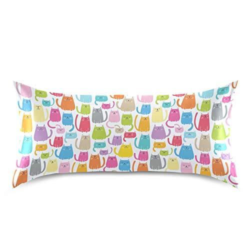 HaJie - Funda de almohada de satén con diseño de animales coloridos, 100% poliéster, funda de almohada para cabello y piel, tamaño King 50,8 x 101,6 cm