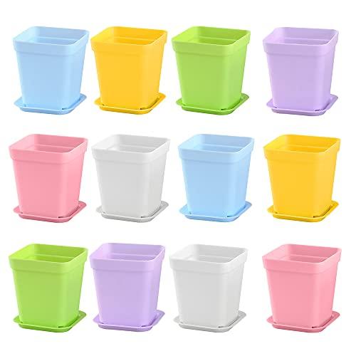 MOPOIN 12 vasi per piante con sottovaso, 7 x 8 cm, in plastica, colorati, mini vasi da fiori in plastica, per ufficio, balcone, ringhiera, decorazione