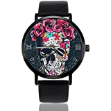 Skull Flower Watch Personalized Custom Watches Casual Black Leather Strap Wrist Watches for Men Women Unisex