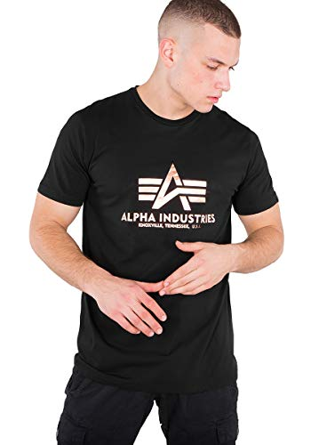 ALPHA INDUSTRIES Herren Basic T-Shirt Foil Print Black/Gold (XL)
