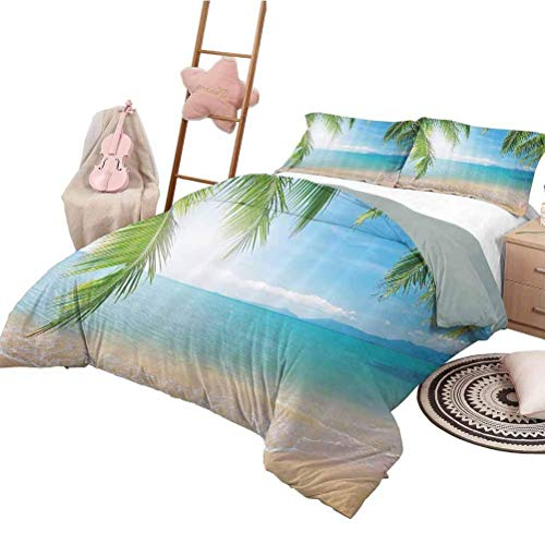 Light Blue Tropical Picture Decor Duvet Cover Set Beach Surf Tourism and Thailand Relaxation Holiday Print 3Pcs Duvet Cover Set with Zipper Closure Queen Size